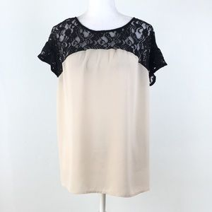 Anthropologie Maeve cream black lace blouse M